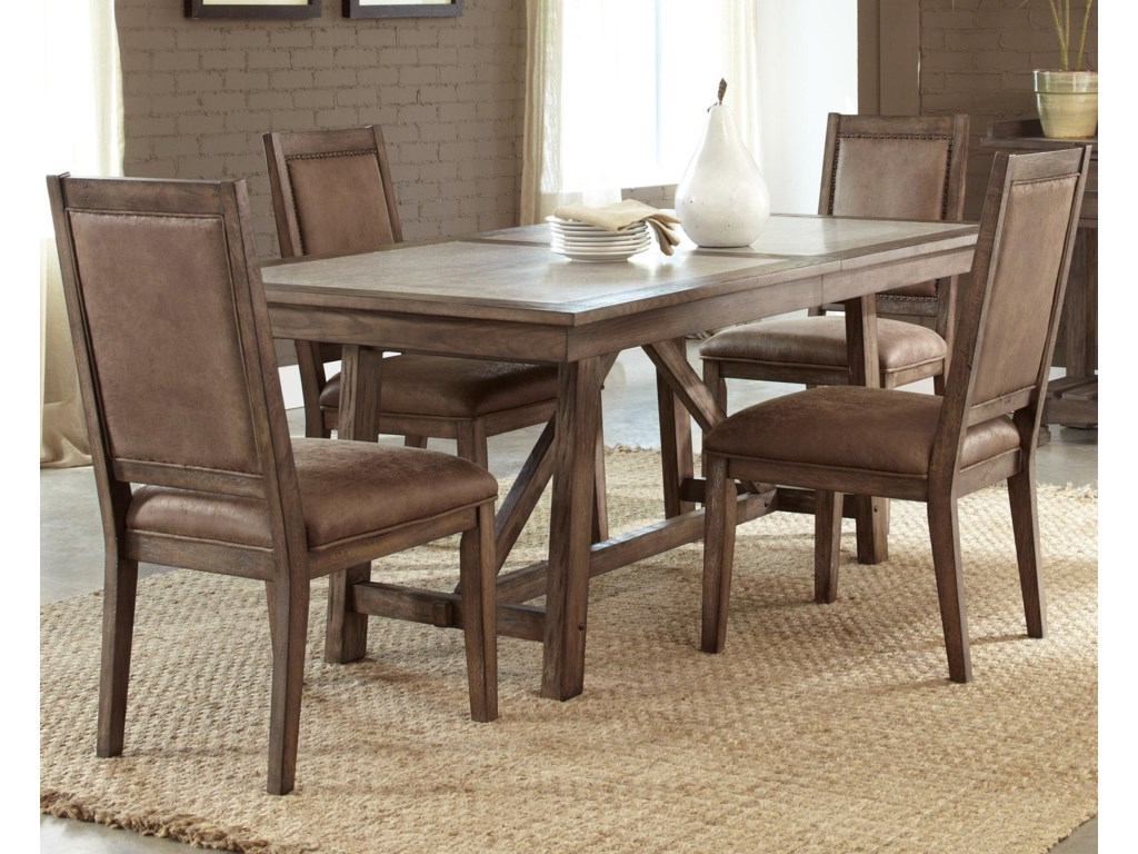 Stone Brook Casual 5 Piece Trestle Table Set by Liberty Furniture at  Northeast Factory Direct
