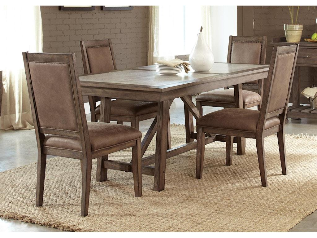 Liberty Furniture Stone Brook5 Pc Trestle Table Set