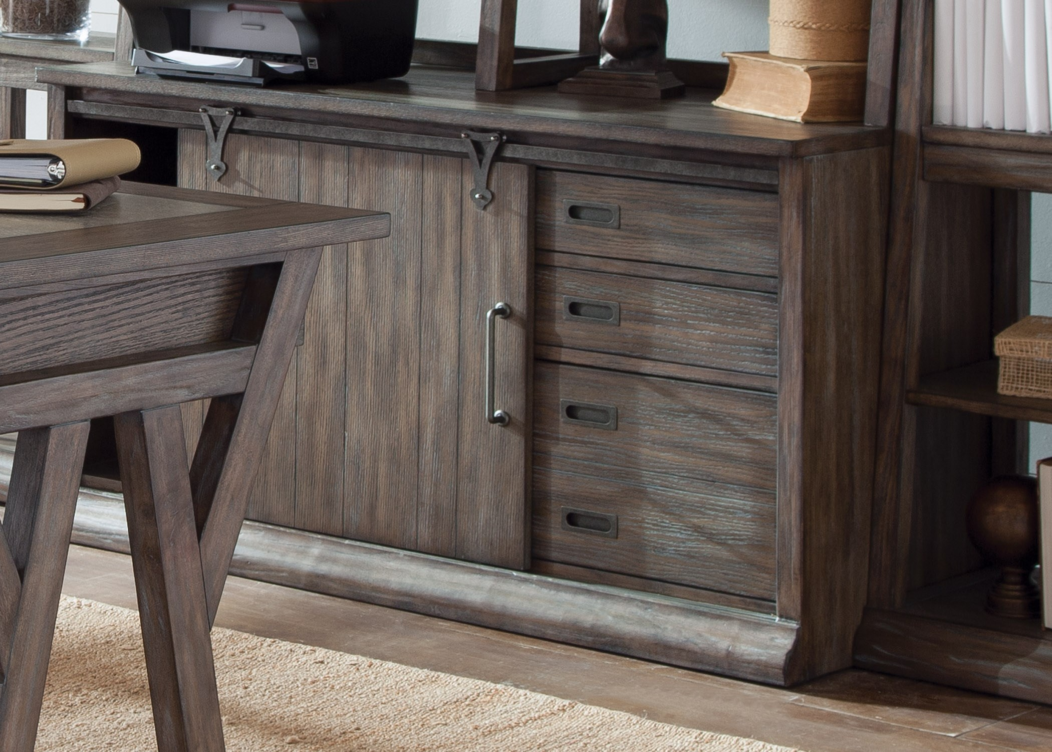 Genial Liberty Furniture Stone Brook Computer Credenza In Distressed Wood Finish
