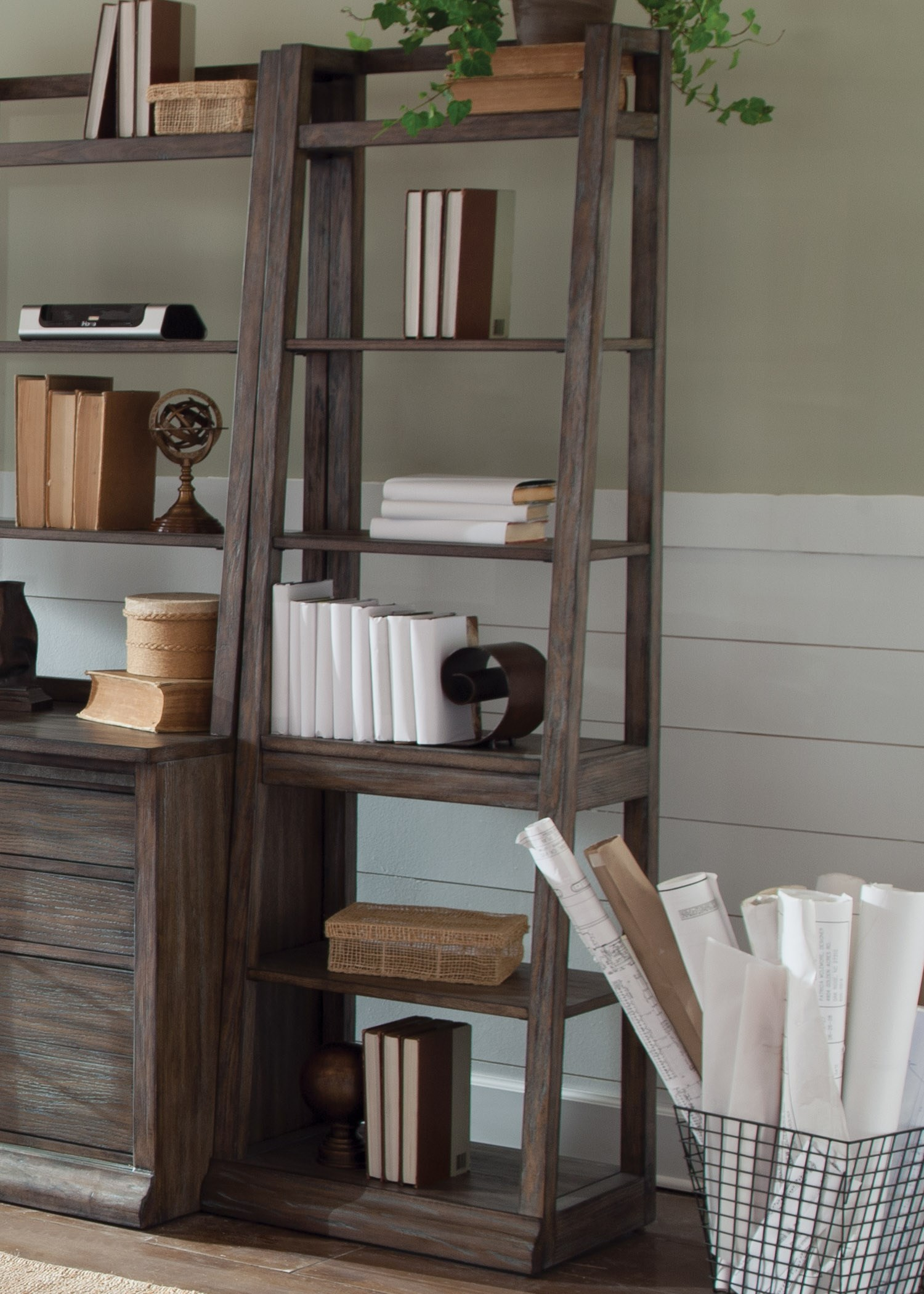 liberty furniture stone brook leaning bookcase with 6shelves