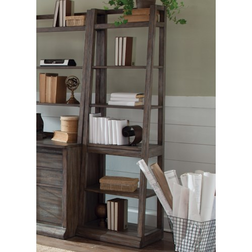 Liberty Furniture Stone Brook Leaning Bookcase with 6-Shelves