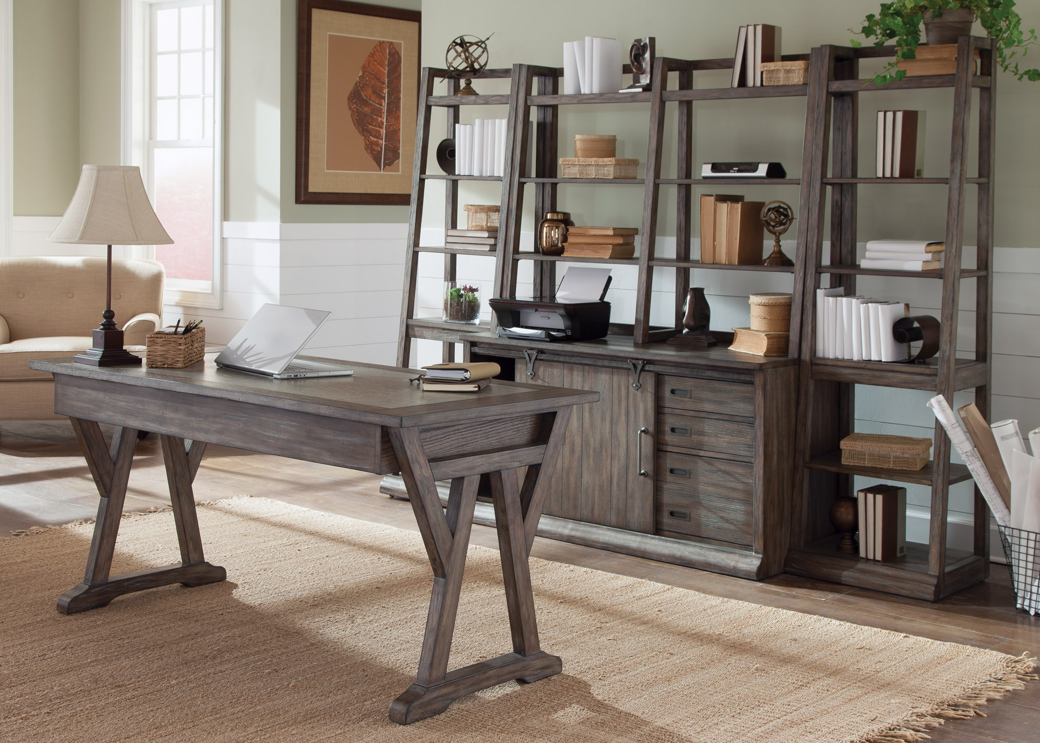 Liberty Furniture Stone Brook 5 Piece Desk With Distressed Wood Finish