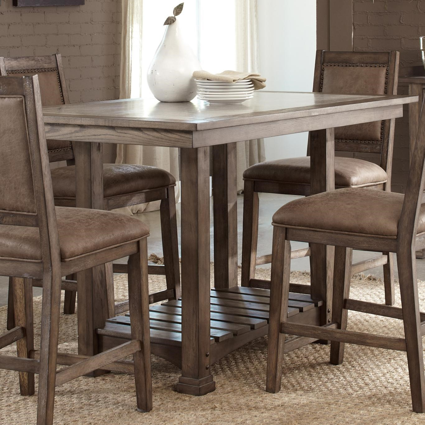 Liberty Furniture Stone Brook Casual Cement Top Kitchen Island Table