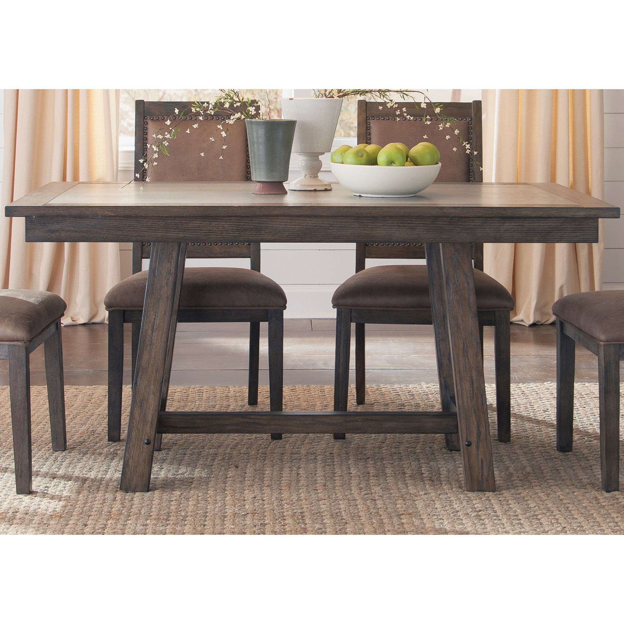 Marvelous Liberty Furniture Stone Brook Trestle Table With Concrete Insert