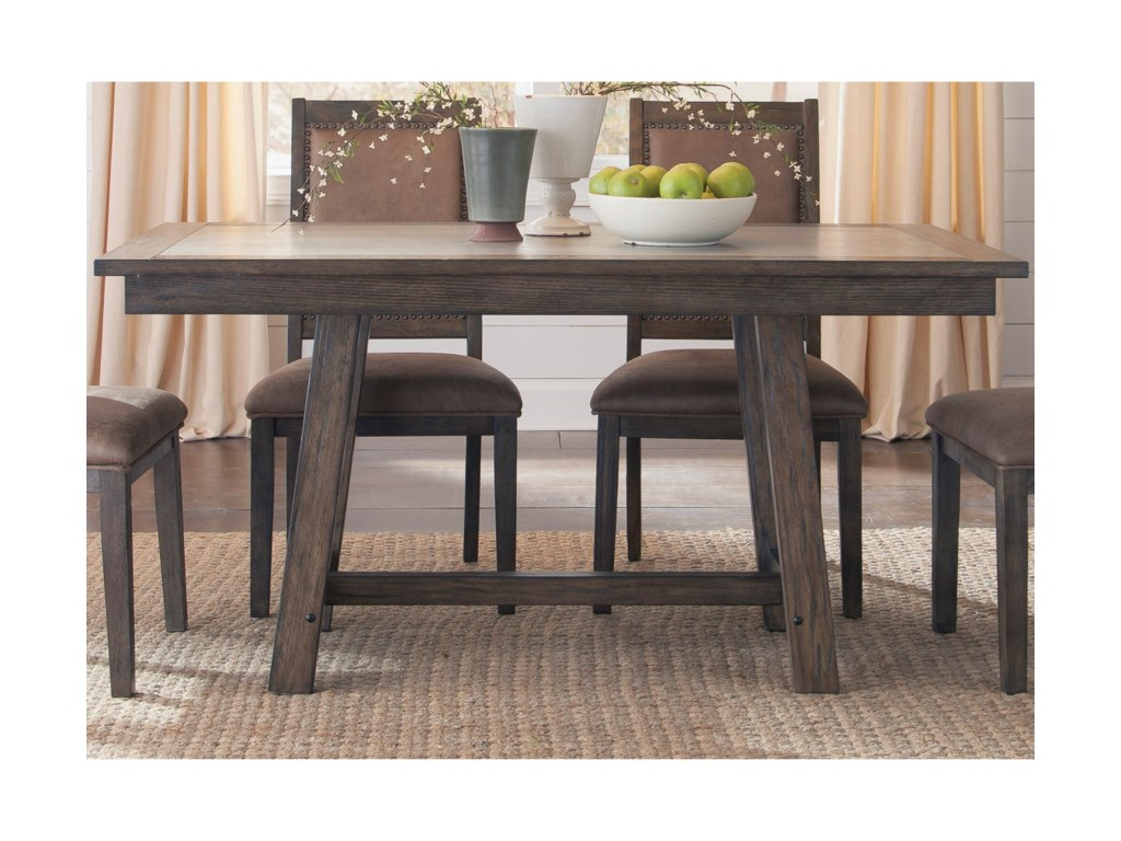 Liberty Furniture Stone BrookTrestle Table with Concrete Insert