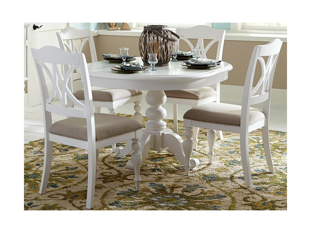 Liberty Furniture Summer House I5 Piece Pedestal Table Set