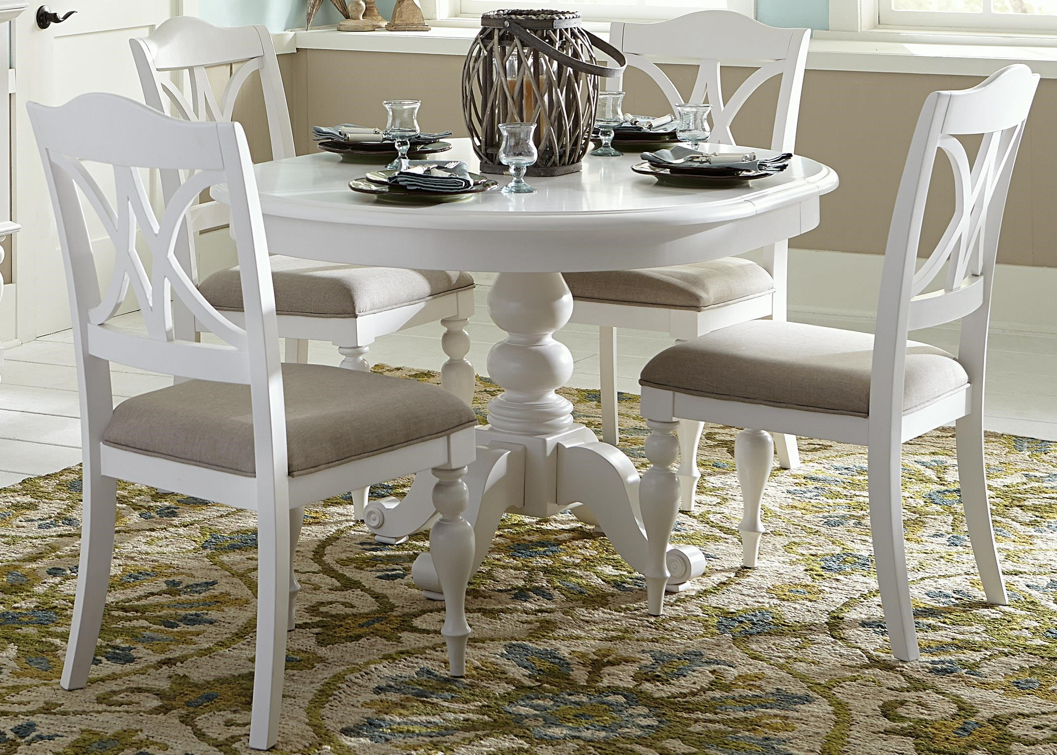 5-Piece Round Table Set with Turned Legs
