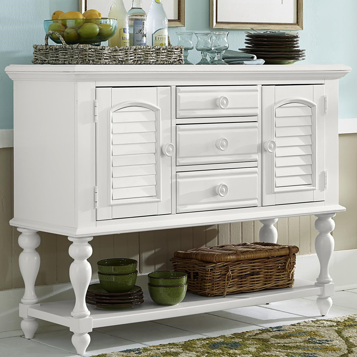 Server with Louvered Panel Accents