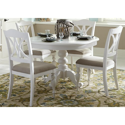 Liberty Furniture Summer House I Round Table With Turned Pedestal - Round kitchen table pedestal base