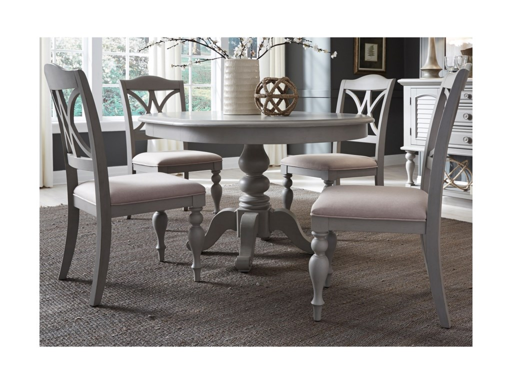 Liberty Furniture Summer House Dining5 Piece Pedestal Table Set