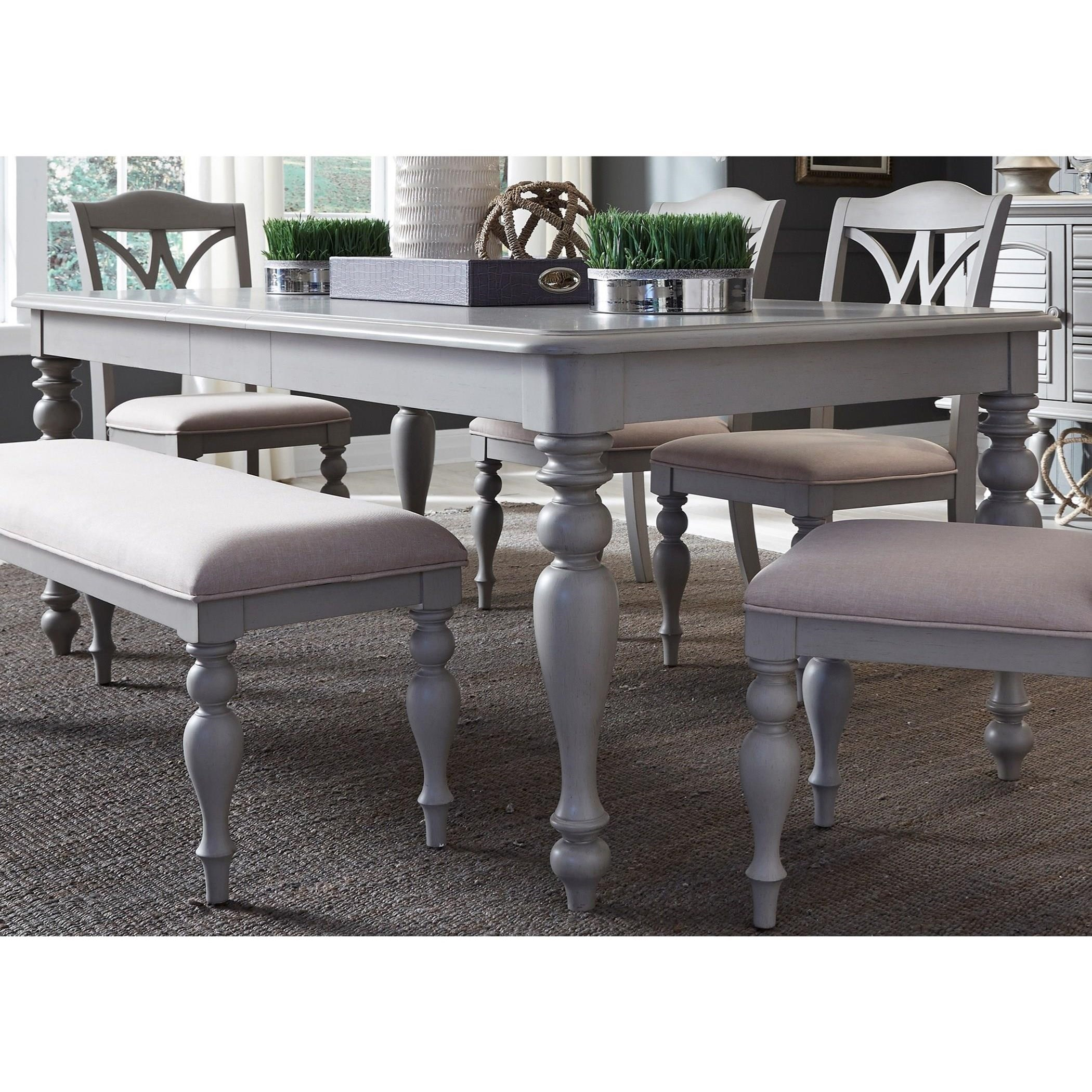 """Transitional Rectangular Leg Table with 12"""" Leaf"""