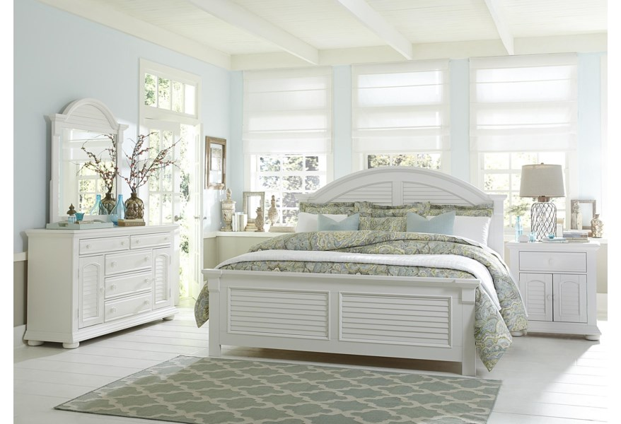 Liberty Furniture Summer House 607 Br Kpb King Panel Bed With Louvered Accents Upper Room Home Furnishings Panel Beds