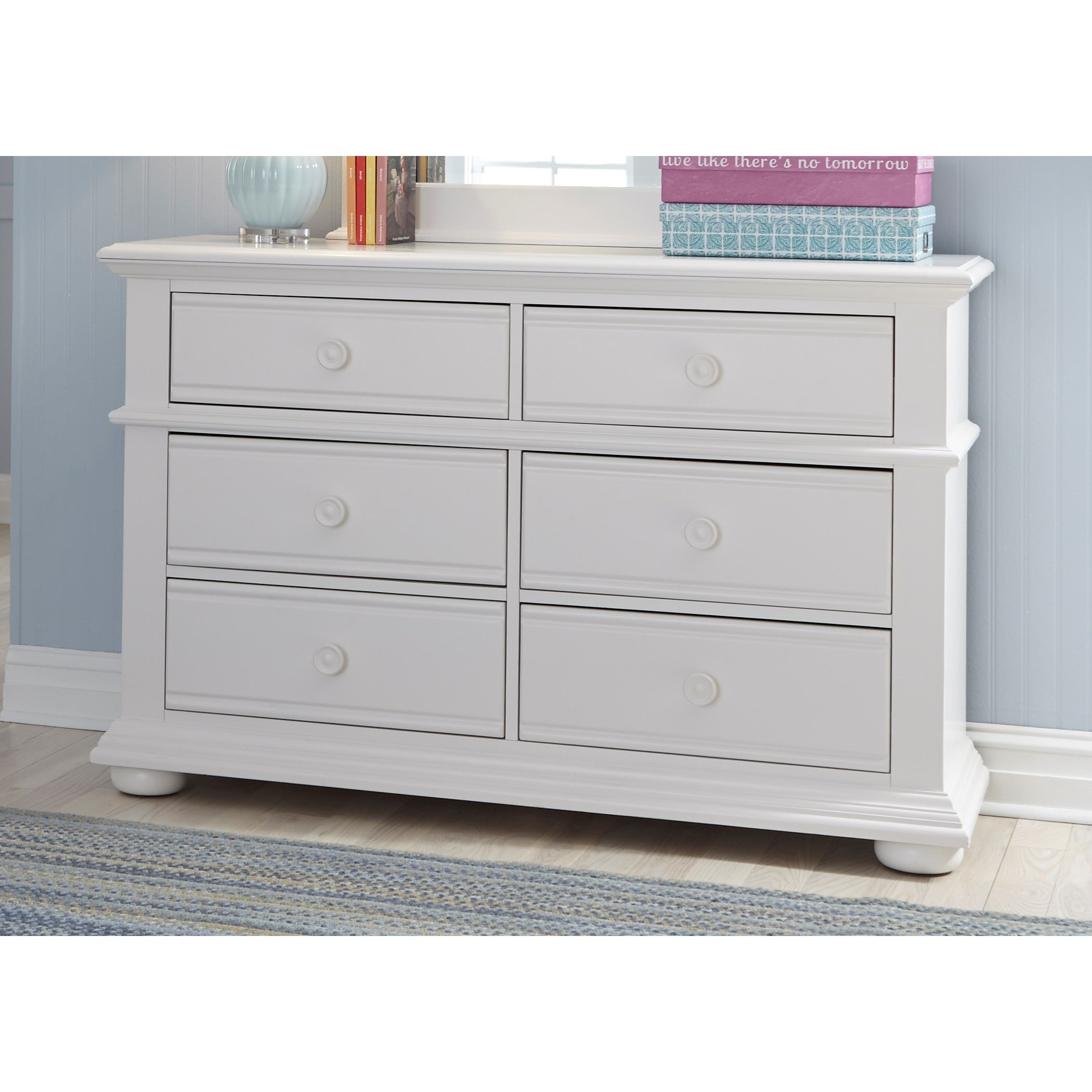 Liberty Furniture Summer House Cottage 6 Drawer Dresser With Felt Lined Top  Drawers
