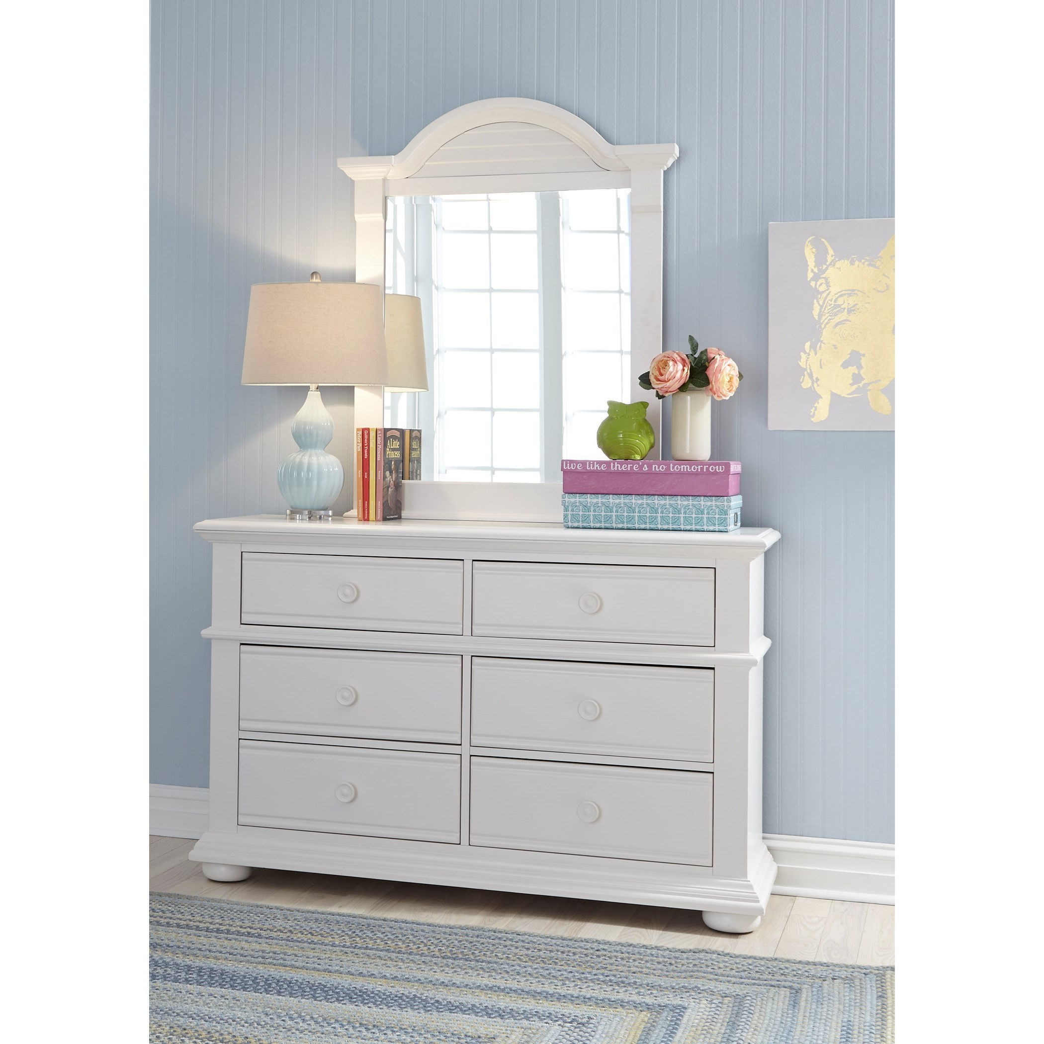 Liberty Furniture Summer House Cottage Dresser U0026 Mirror With Felt Lined Top  Drawers