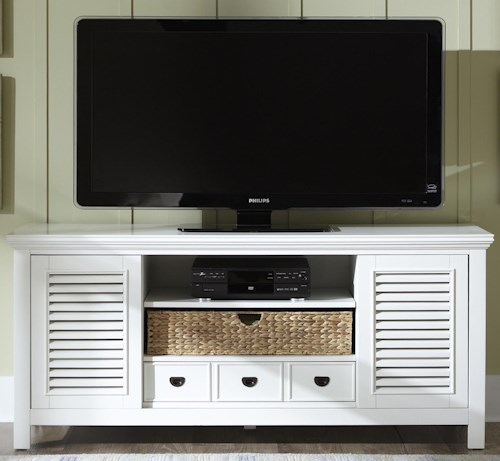 Liberty Furniture Summerhill Entertainment TV Stand with Drawer, Sliding Doors, and Adjustable Center Shelf