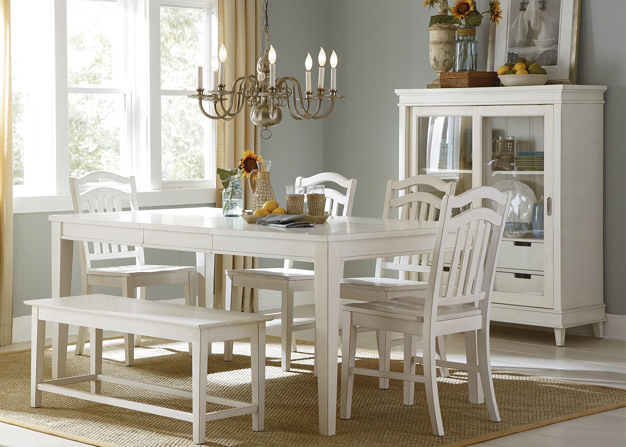 Liberty Furniture Summerhill Six Piece Rectangular Table, Bench, And Chair Dining  Set