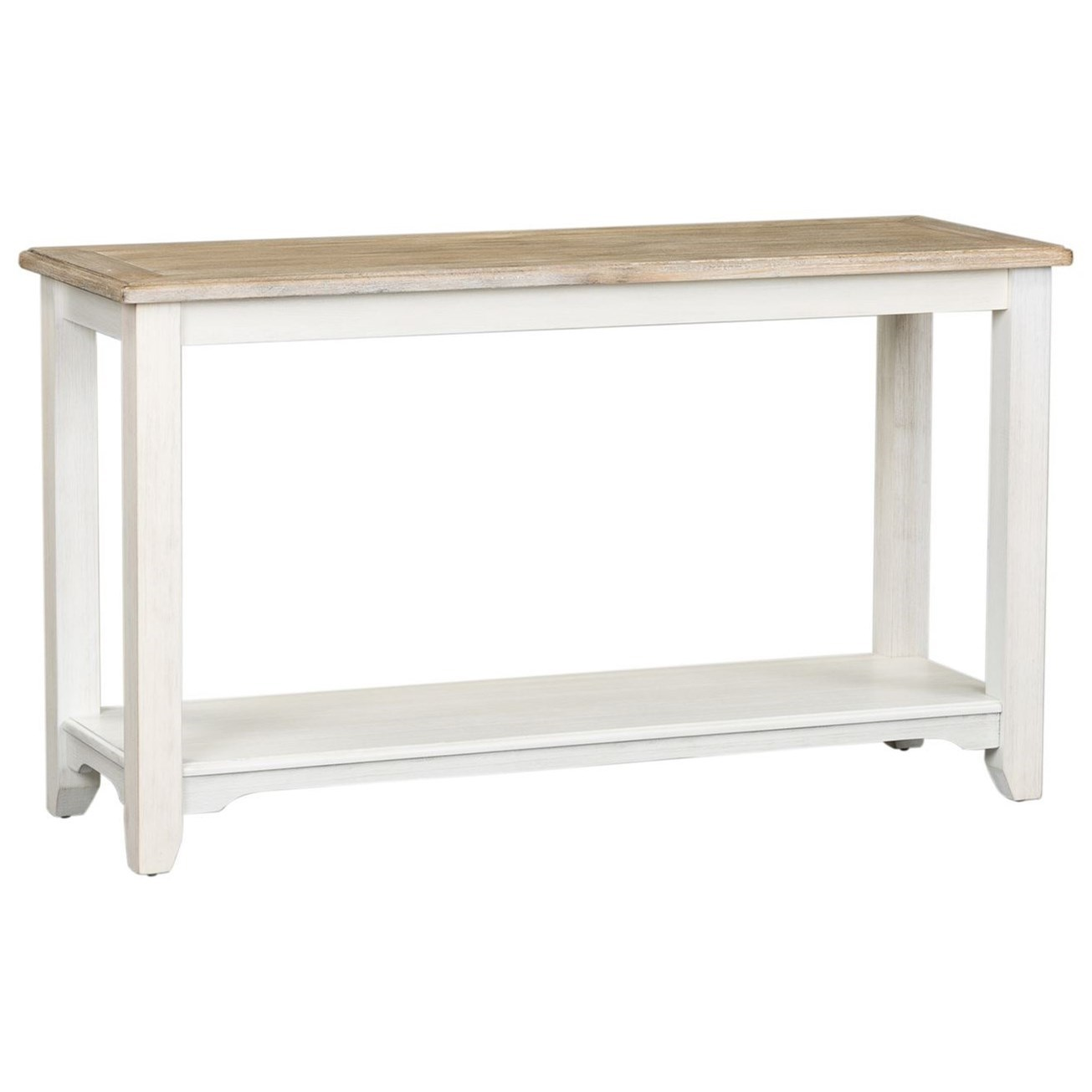 Cottage Style Two-Toned Sofa Table with Shelf
