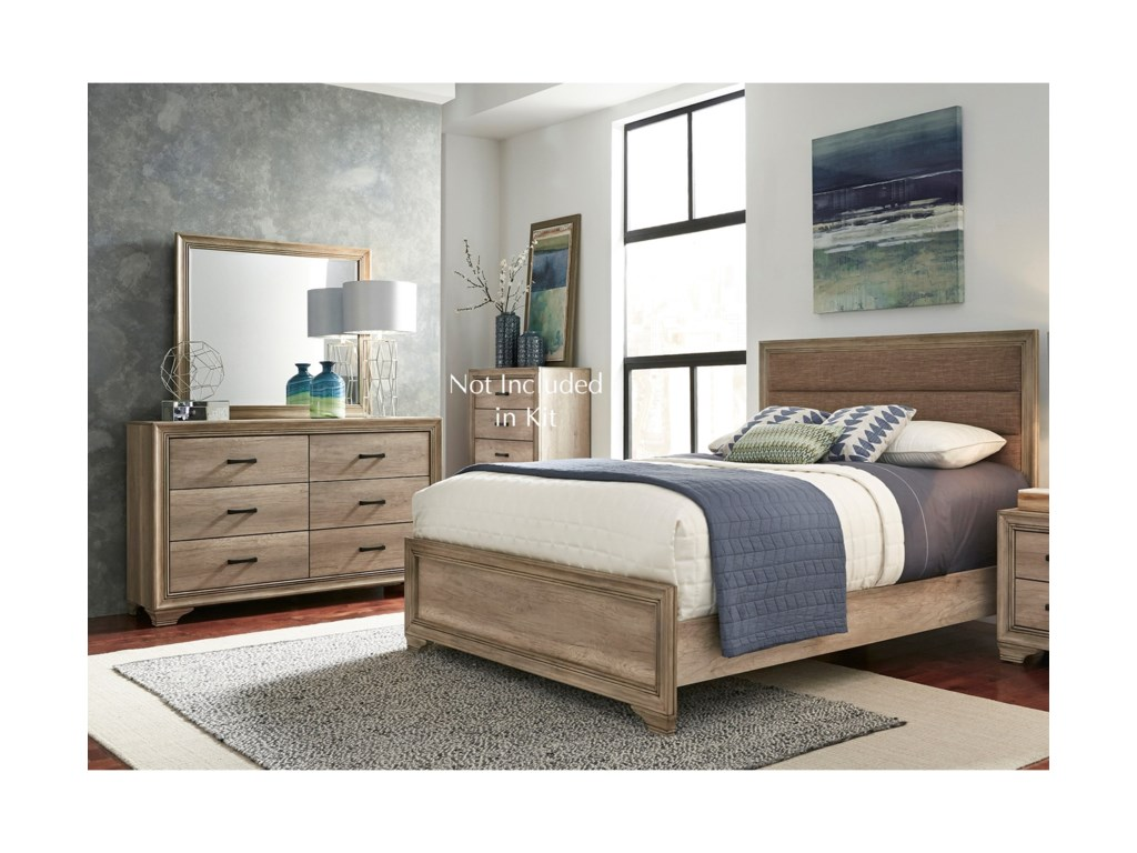 Liberty Furniture Sun ValleyTwin Uph Bed, Dresser & Mirror
