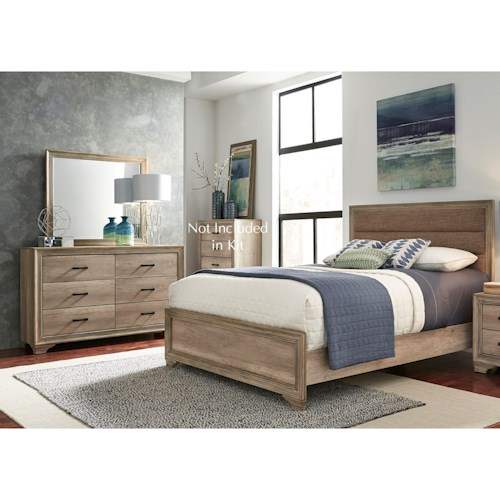 Liberty Furniture Sun Valley 439 Twin Uph Bed, Dresser & Mirror