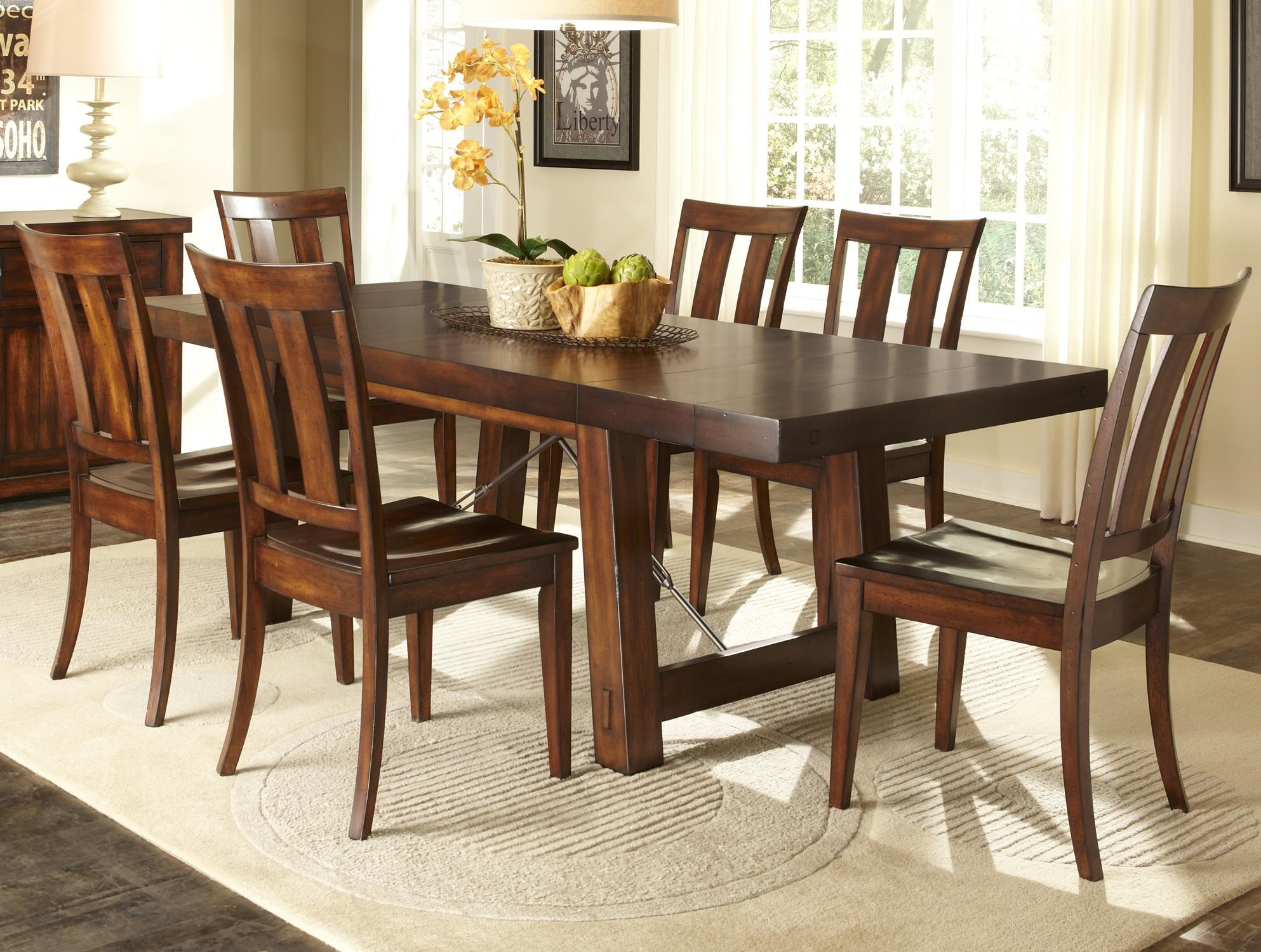 Liberty Furniture Tahoe 7 Piece Dining Table With Slat Back Chair Set