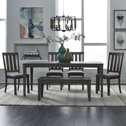 Liberty Furniture Tanners Creek 6 Piece Rectangular Table and Chair Set with Bench