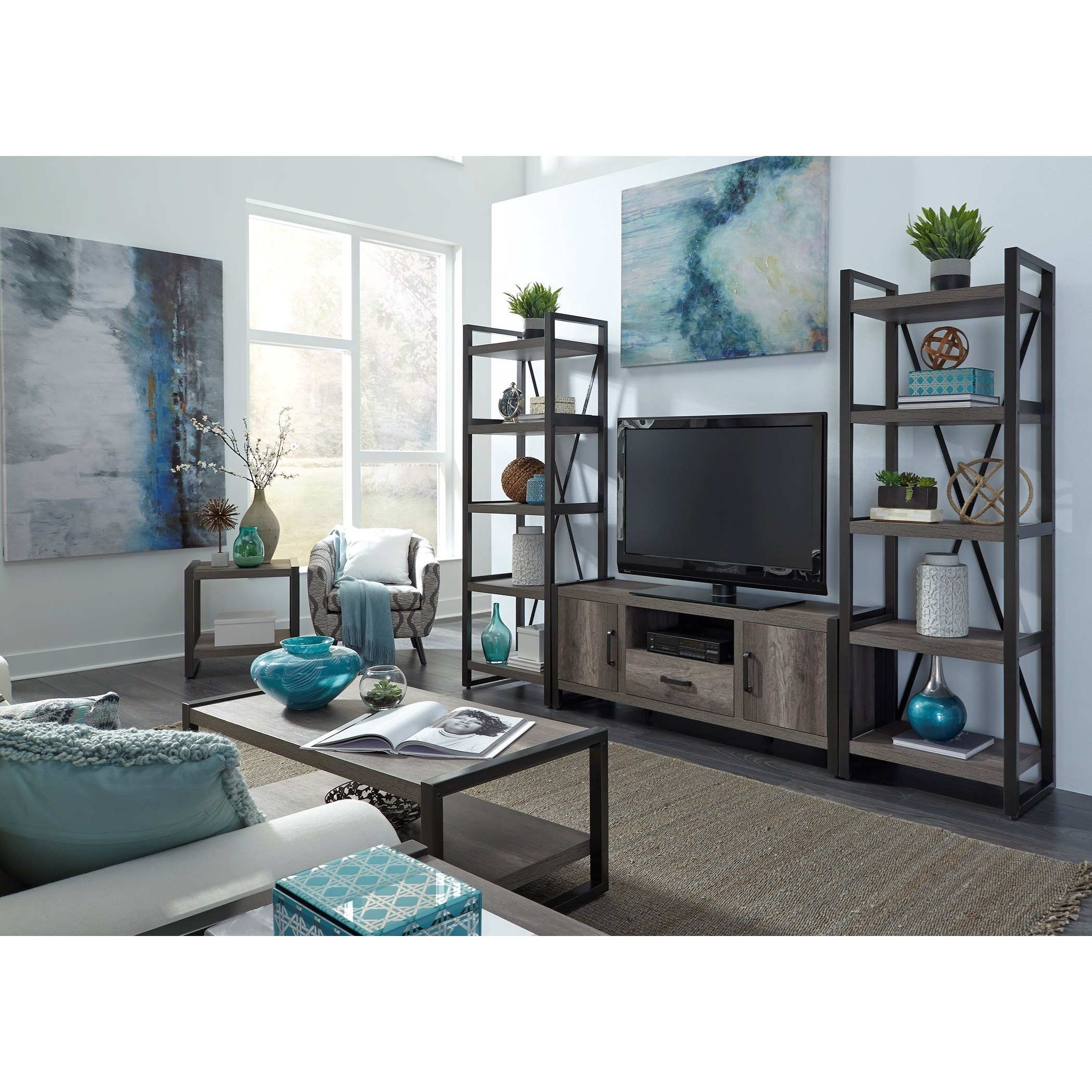 Liberty Furniture Tanners Creek Contemporary Entertainment Center With Tall Piers Royal Furniture Wall Unit