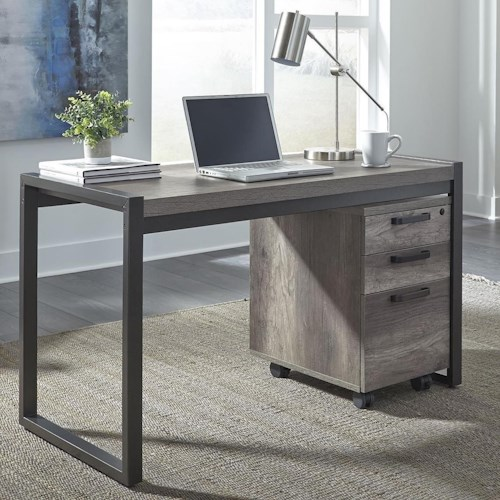 Liberty Furniture Tanners Creek Contemporary Writing Desk with 3 Drawer File Cabinet