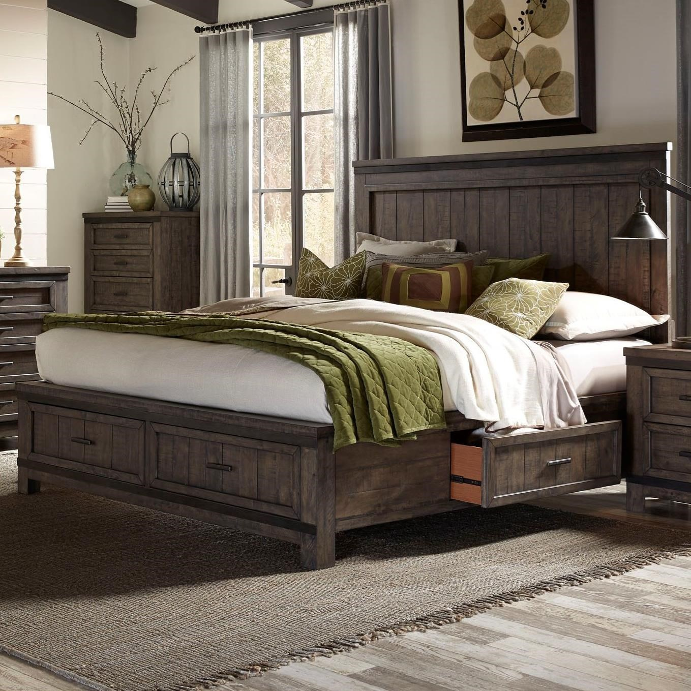 King Two Sided Storage Bed with Dovetail Drawers