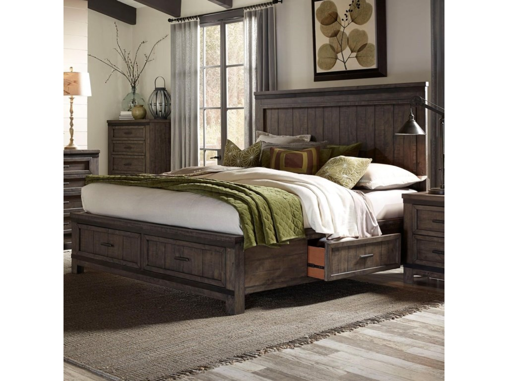 Liberty Furniture Thornwood Hills Queen Two Sided Storage Bed With