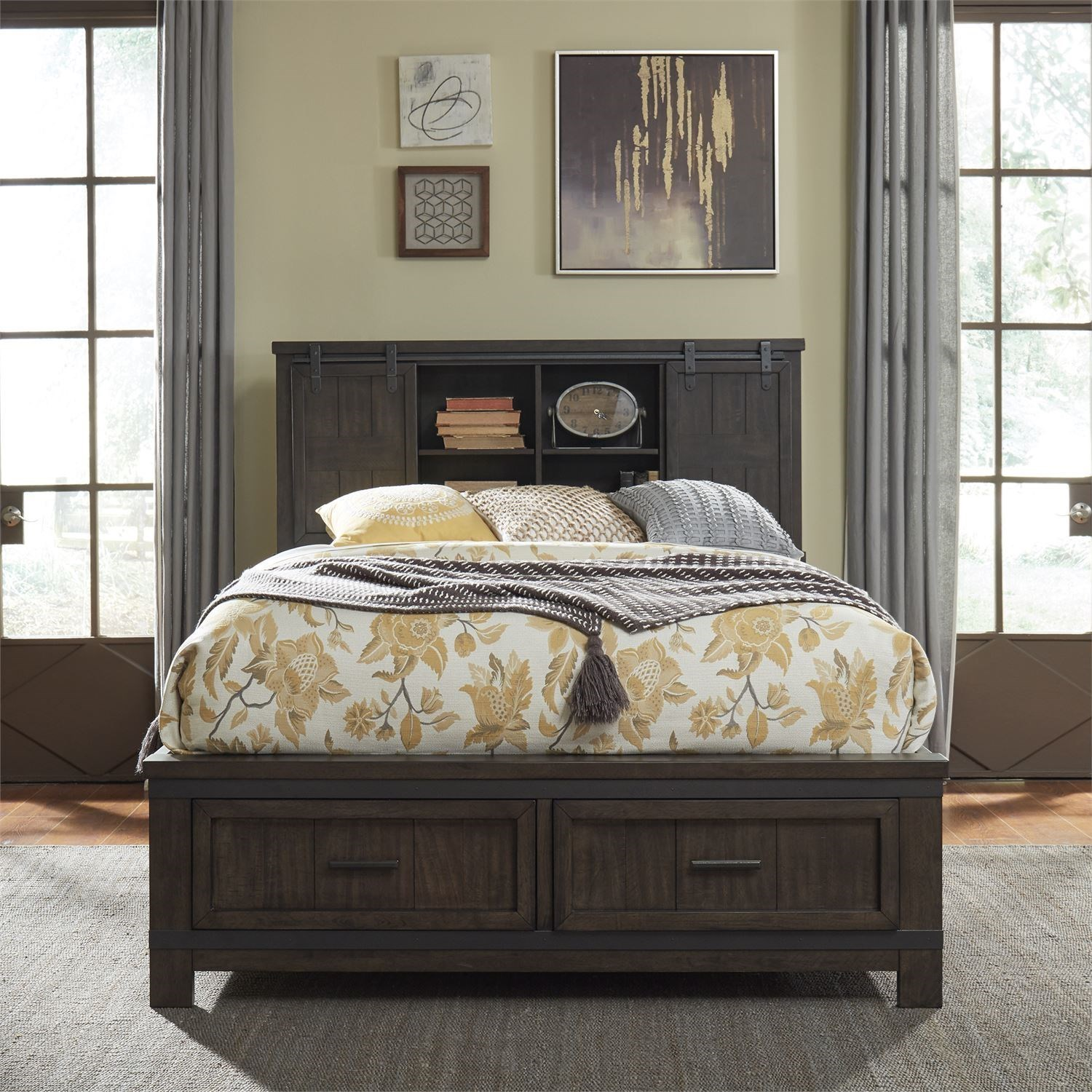 Rustic King Bookcase Bed with Footboard Storage
