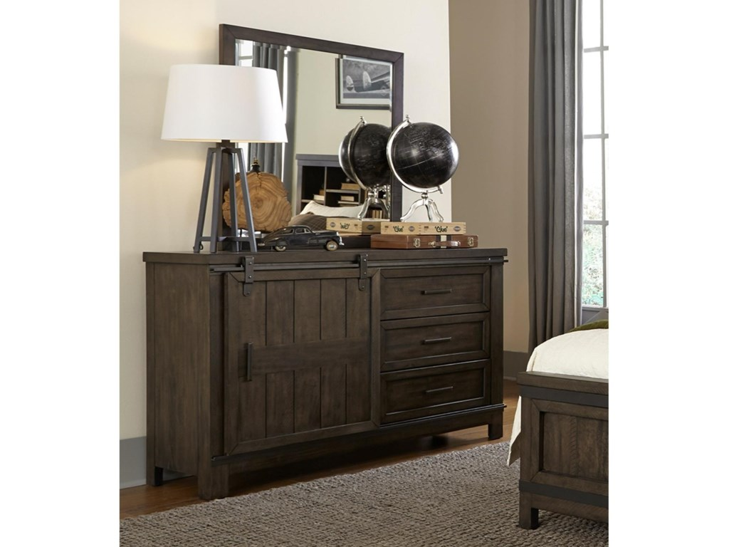Liberty Furniture Thornwood Hills Rustic Barn Door Dresser With
