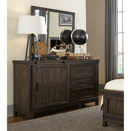 Liberty Furniture Thornwood Hills Rustic Barn Door Dresser with Fully Stained Interior Drawers and Mirror