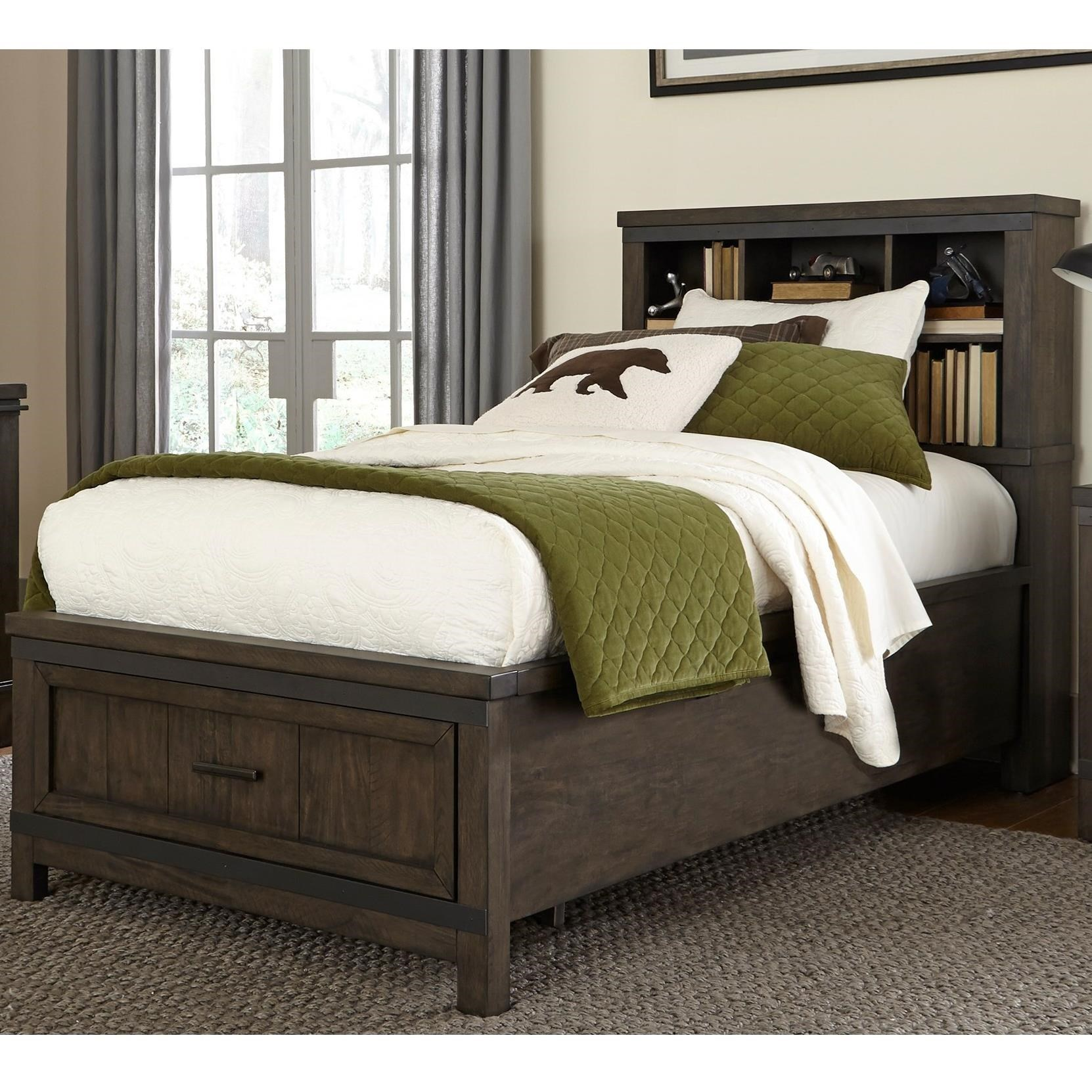 Liberty Furniture Thornwood Hills Rustic Full Bookcase Bed With Footboard  Storage