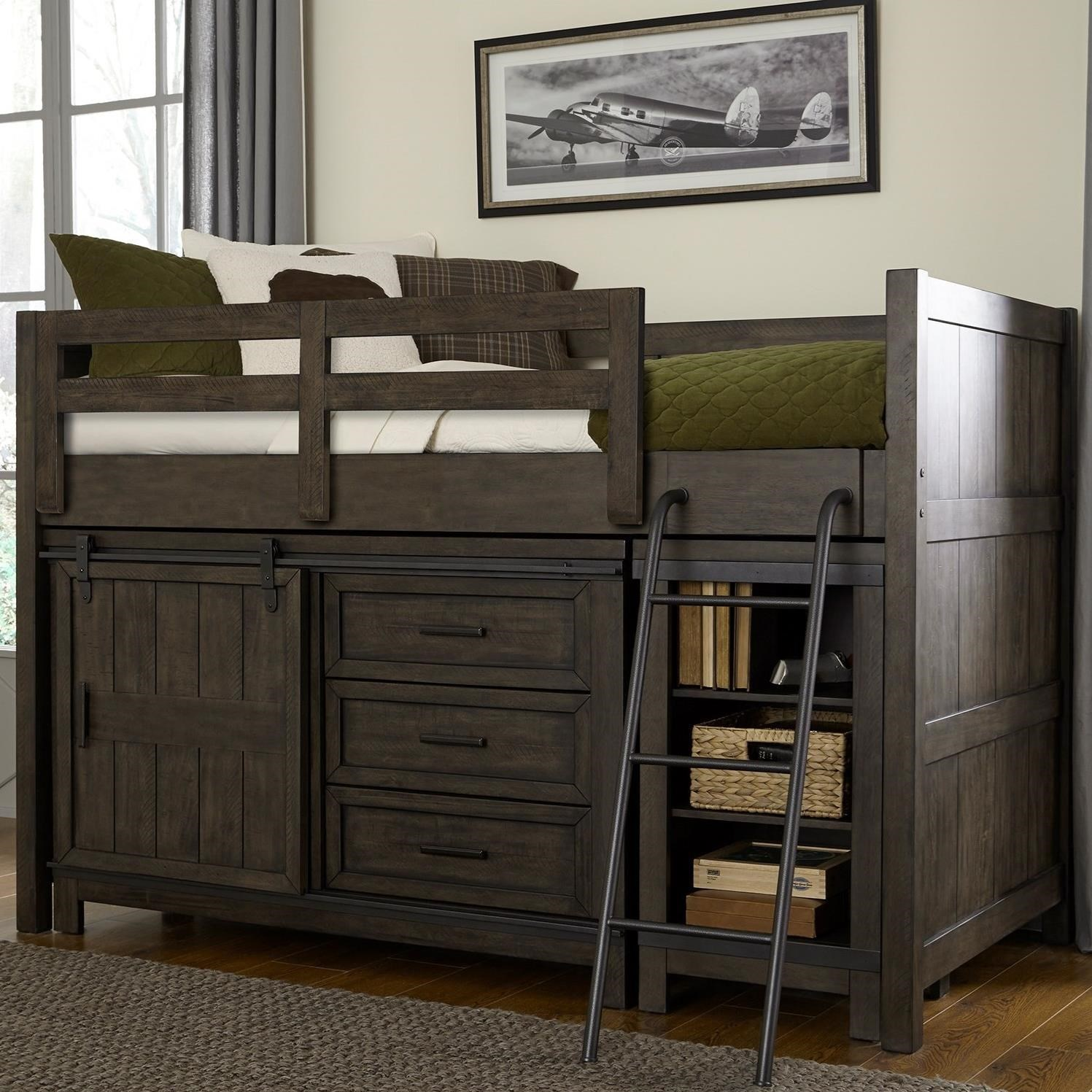 Rustic Twin Loft Bed with Dresser and Low Loft Bookcase