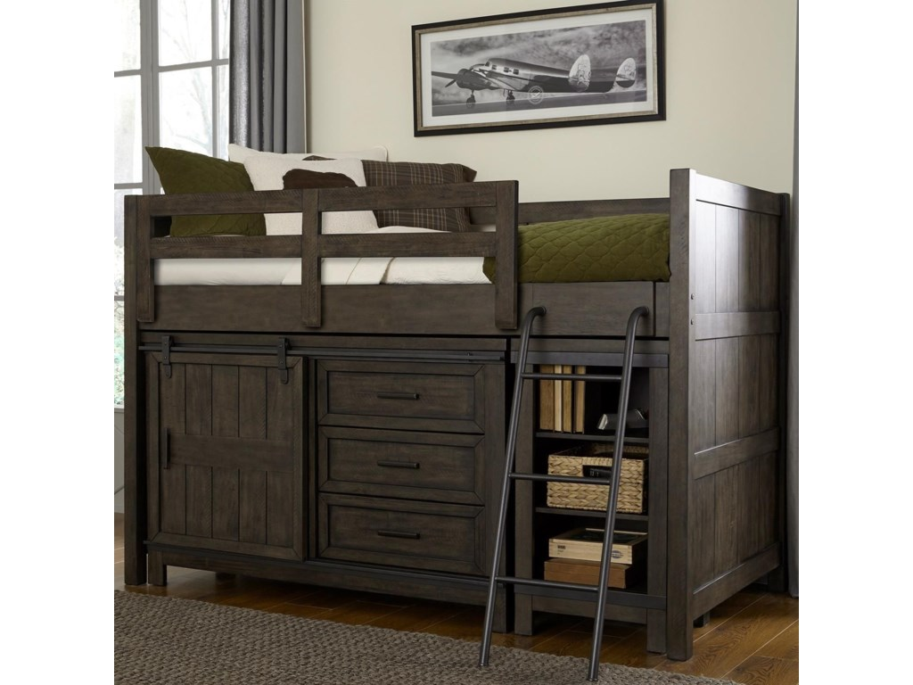 Thornwood Hills Rustic Twin Loft Bed With Dresser And Low Bookcase