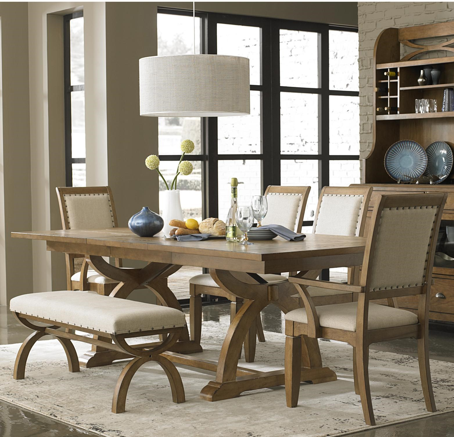 Liberty Furniture Town U0026 Country 6 Piece Trestle Table Set With 4  Upholstered Chairs U0026 Dining Bench   Novello Home Furnishings   Dining 5  Piece Set