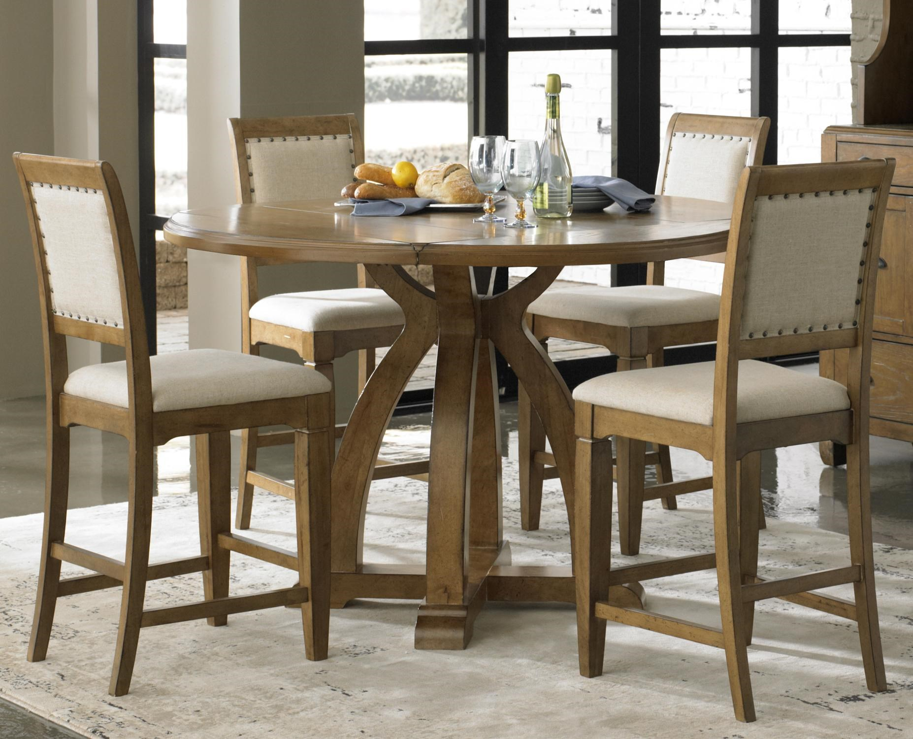 Liberty Furniture Town U0026 Country 5 Piece Gathering Table Set With 4  Upholstered Counter Height