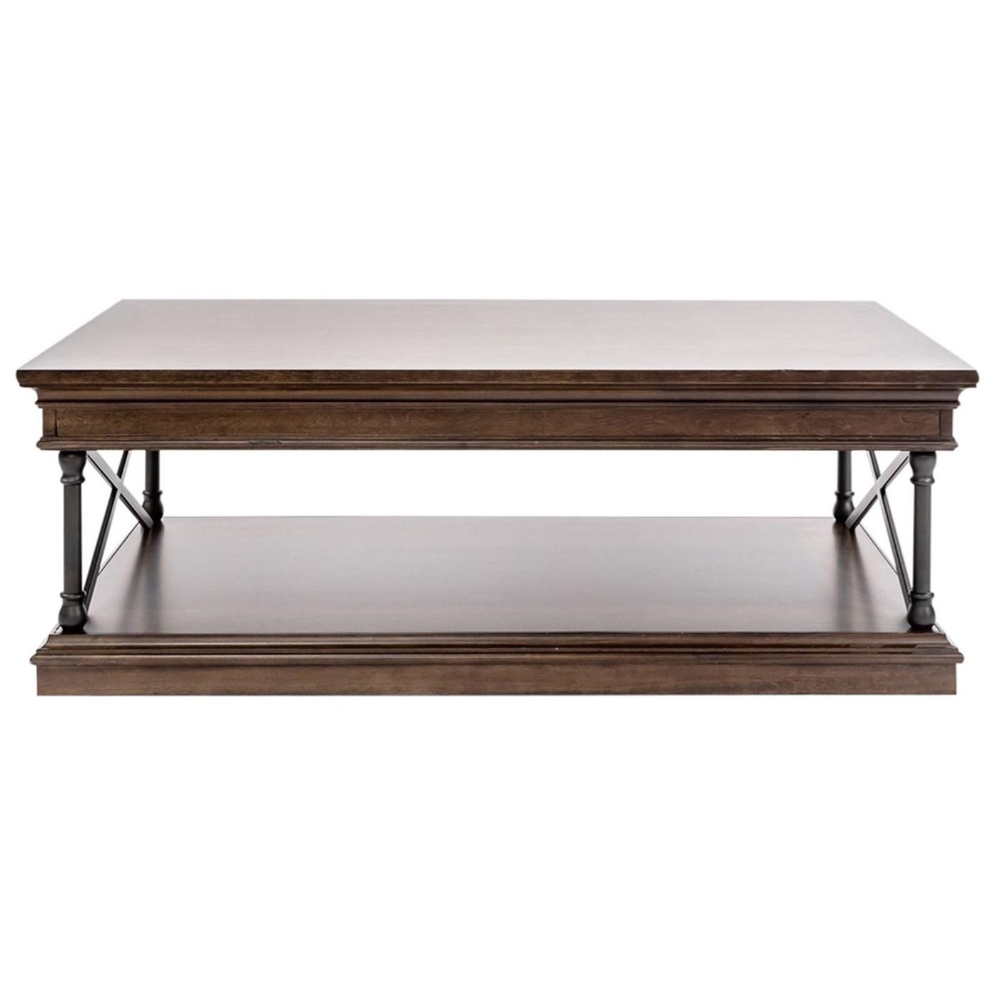 Metal/Wood Rectangular Cocktail Table