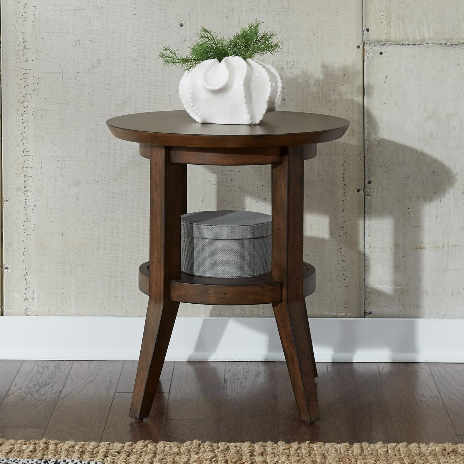 Contemporary Round End Table with Shelf