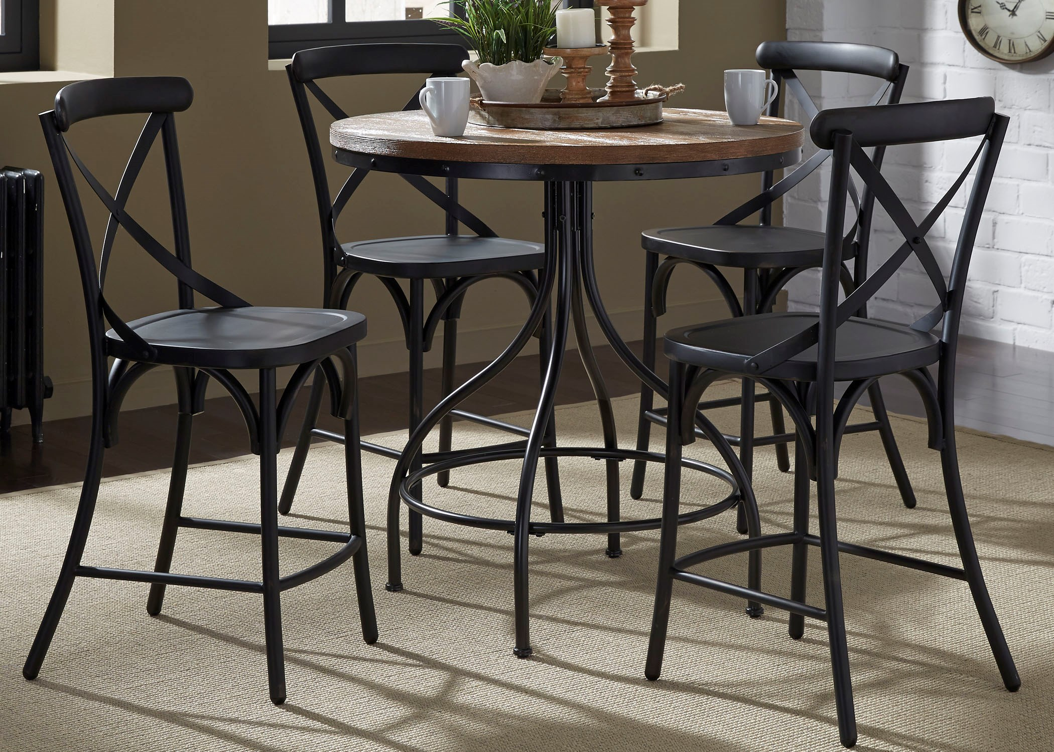 Liberty Furniture Vintage Dining Series 5 Piece Gathering Table And X Back  Counter Chair