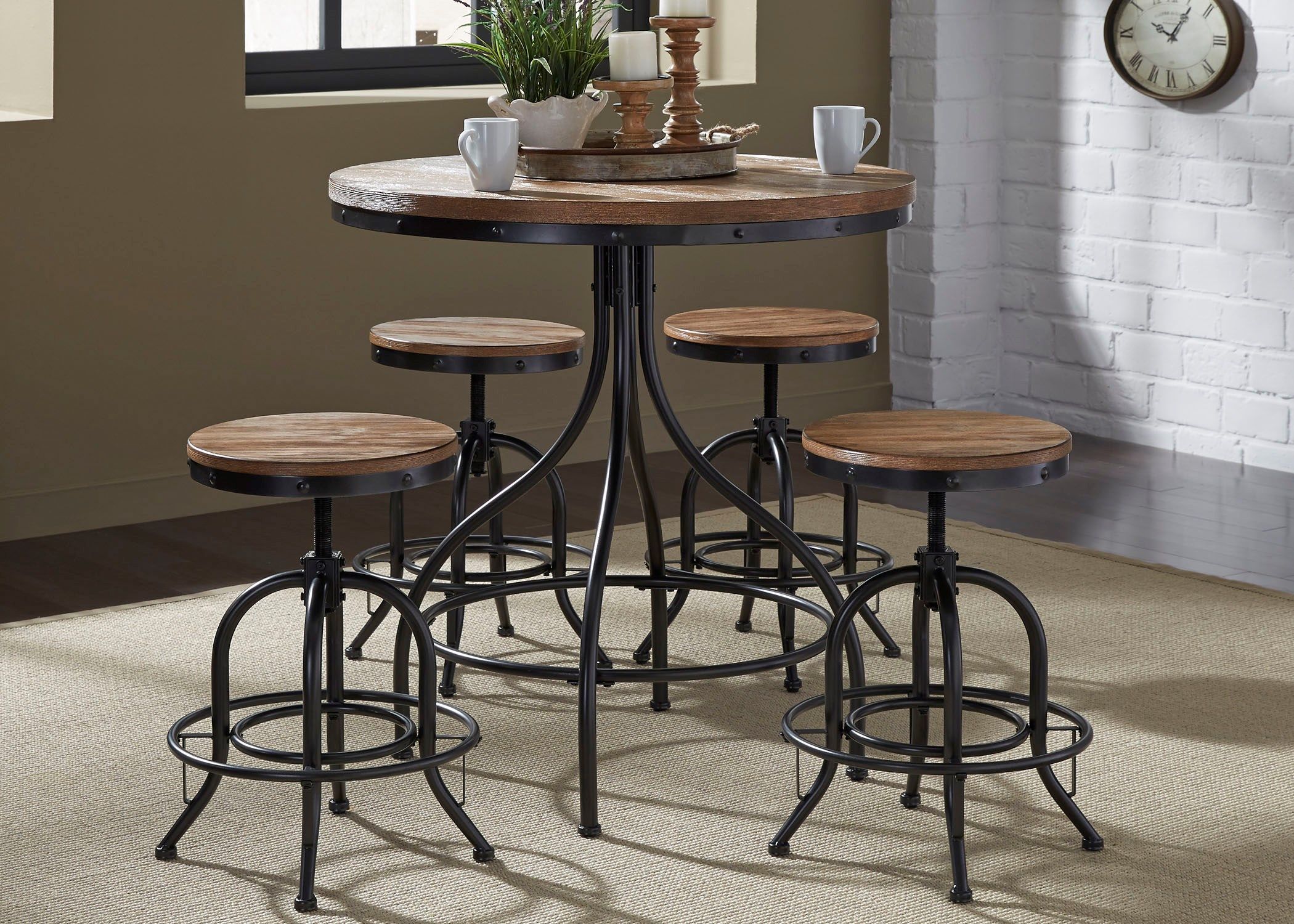 Liberty Furniture Vintage Dining Series 5 Piece Pub Table And Bar Stool Set