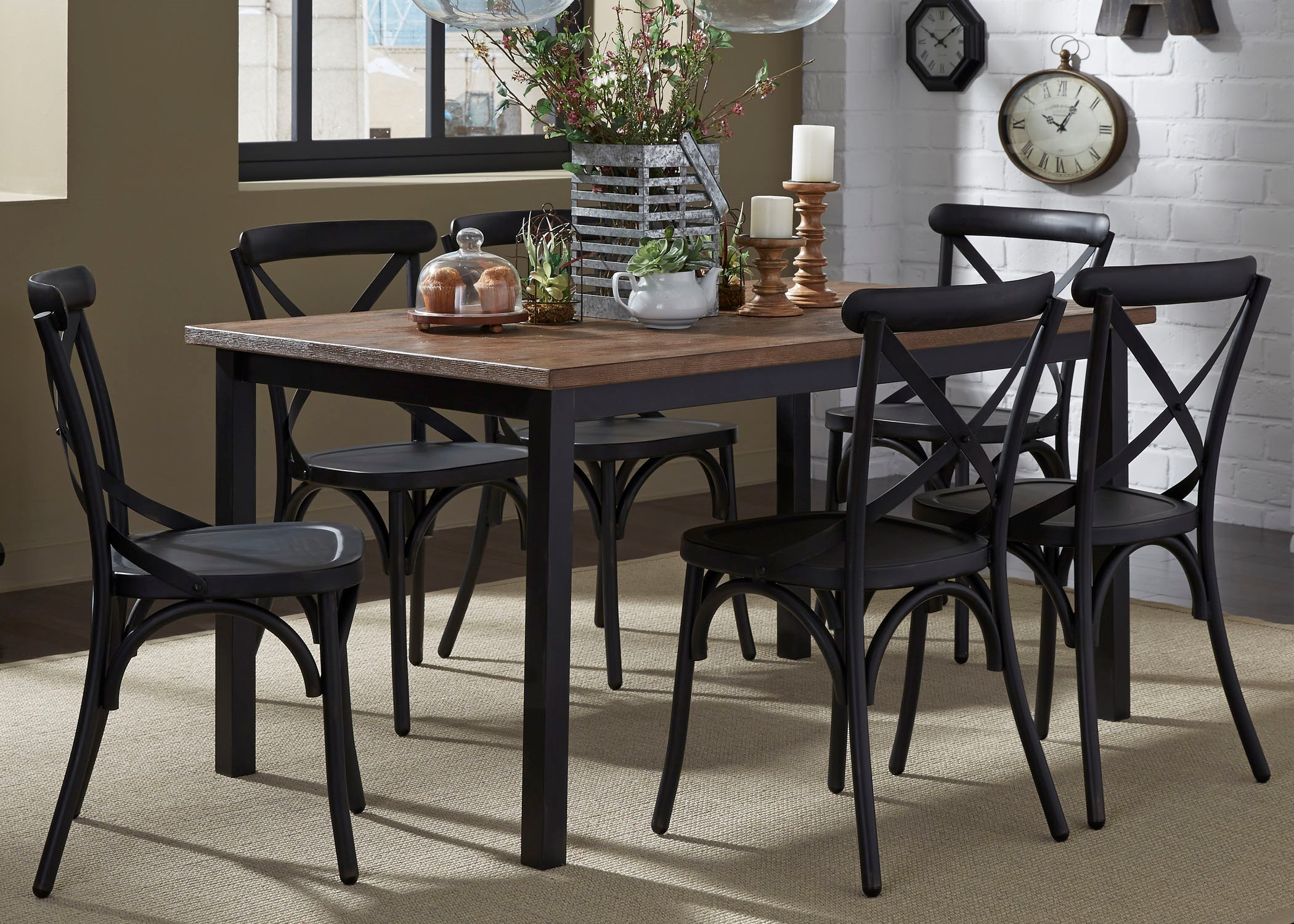 Liberty Furniture Vintage Dining Series 7 Piece Rectangular Leg Table And  X Back Chair Set