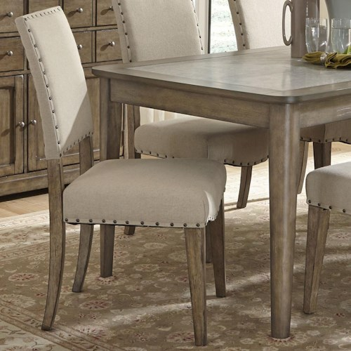 Weatherford Rustic Casual Upholstered Side Chair With Nail Head
