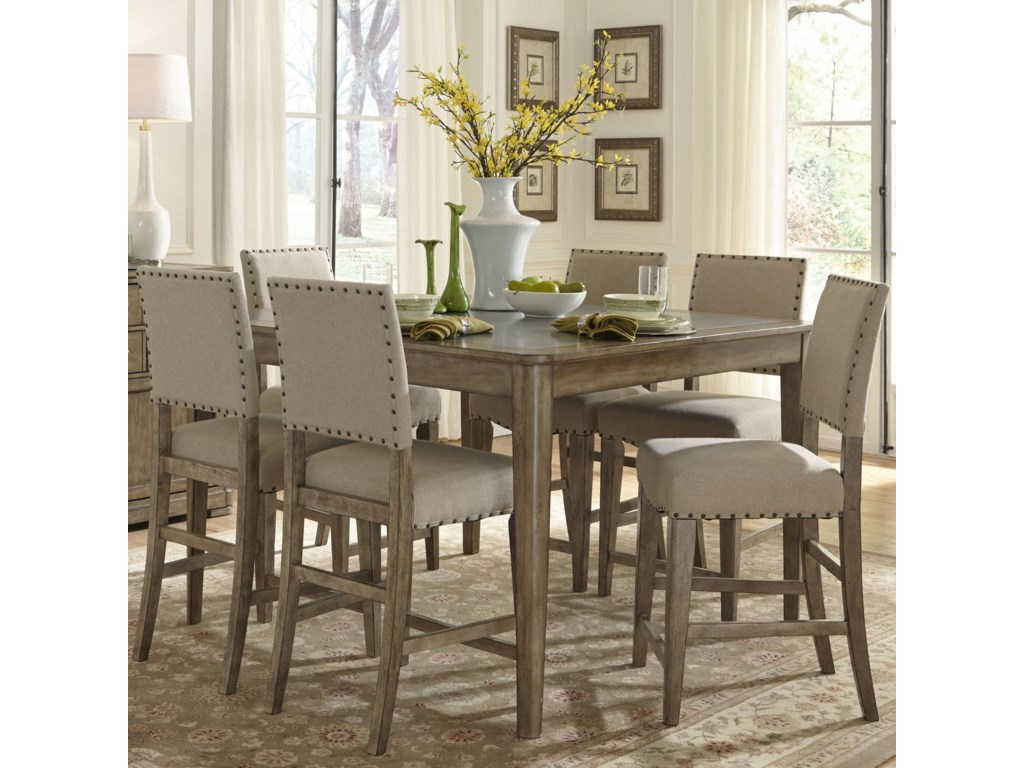 Liberty Furniture Weatherford Rustic Casual 7 Piece Gathering Height Table And Chair Set