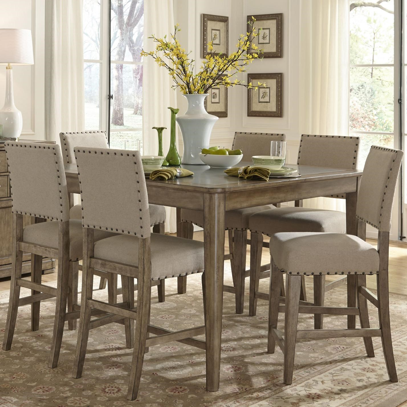 Liberty Furniture Weatherford Rustic Casual 7 Piece Gathering Height Table  And Chair Set | Royal Furniture | Pub Table And Stool Set