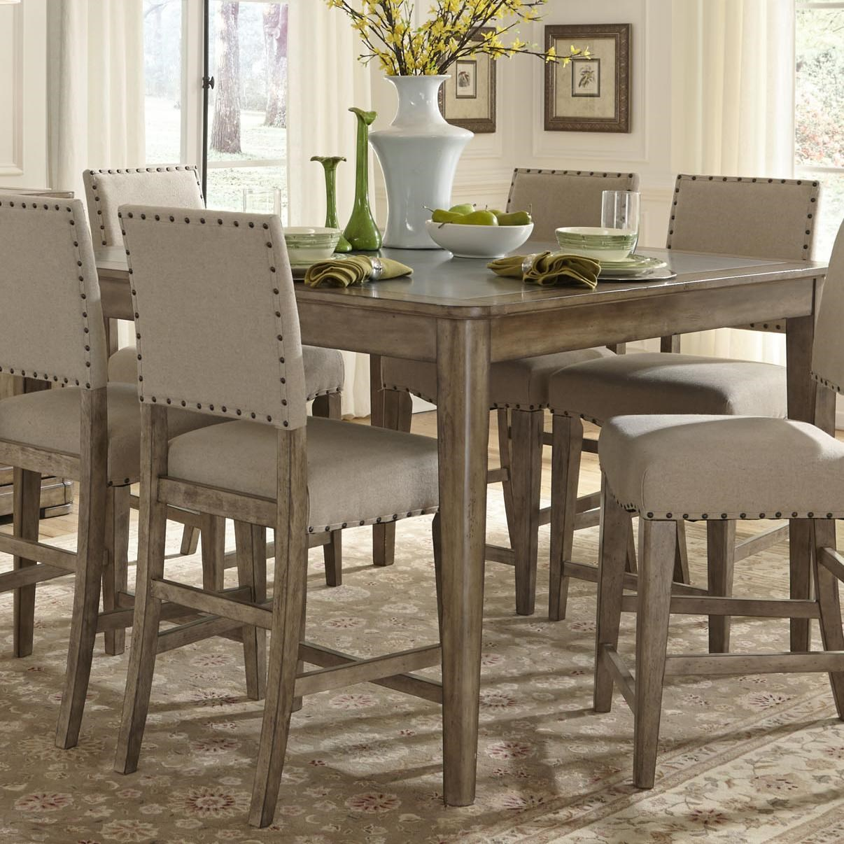Liberty Furniture Weatherford Rustic Casual Gathering Table With Concrete  Insert