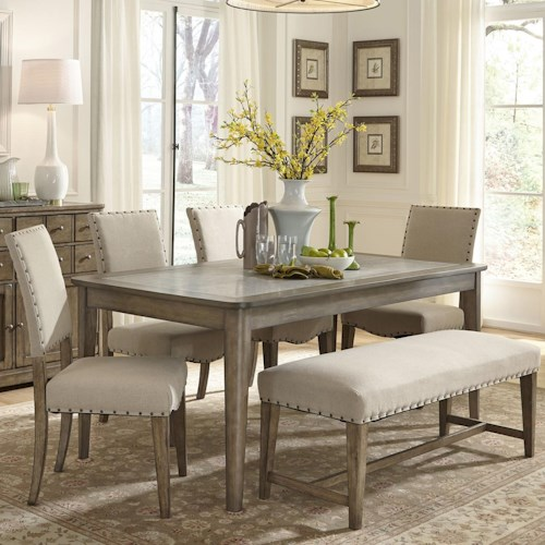 Liberty Furniture Weatherford Rustic Casual 6 Piece Dining Table And Chairs Set With Bench