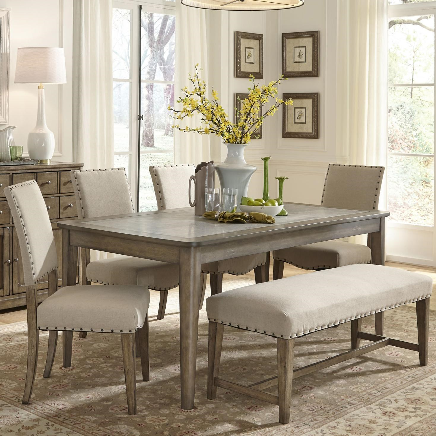 Perfect Dining Table Set With Bench. Liberty Furniture Weatherford Rustic Casual 6  Piece Dining Table And