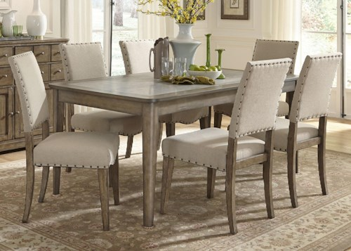 Liberty Furniture Weatherford  Casual Rustic 7 Piece Dining Table and Chairs Set