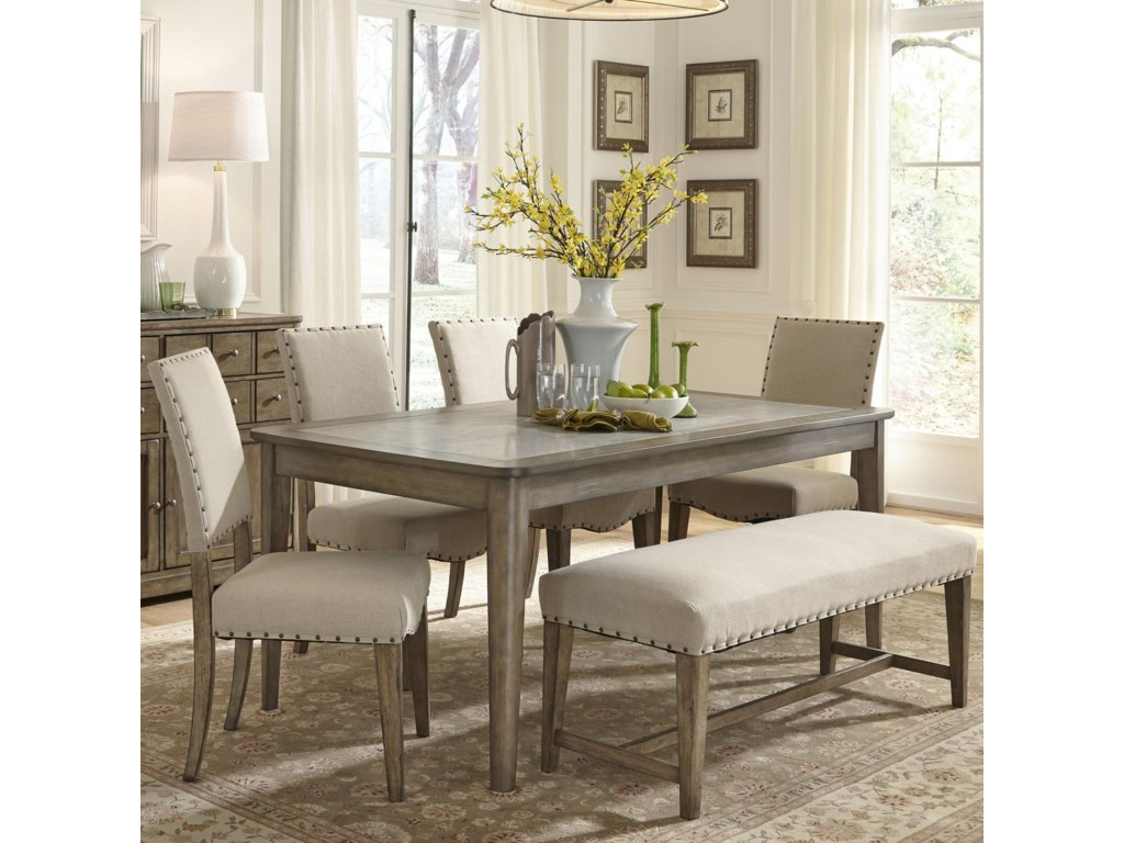 liberty furniture weatherford rustic casual rectangular leg table with concrete insert novello home furnishings kitchen table - Casual Kitchen Table